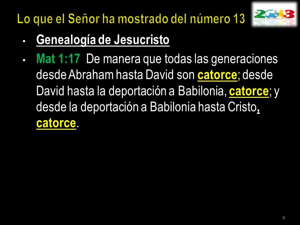 Genealogía de Jesucristo Mat 1:17 De manera que todas las generaciones desde Abraham hasta David son catorce ; desde David hasta la deportación a Babi