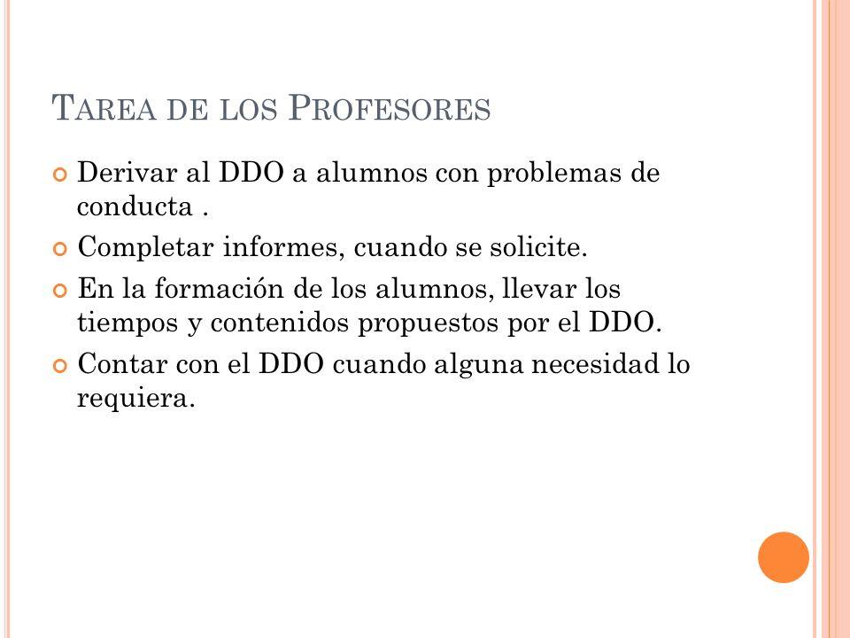 T AREA DE LOS P ROFESORES Derivar al DDO a alumnos con problemas de conducta. Completar informes, cuando se solicite. En la formación de los alumnos,