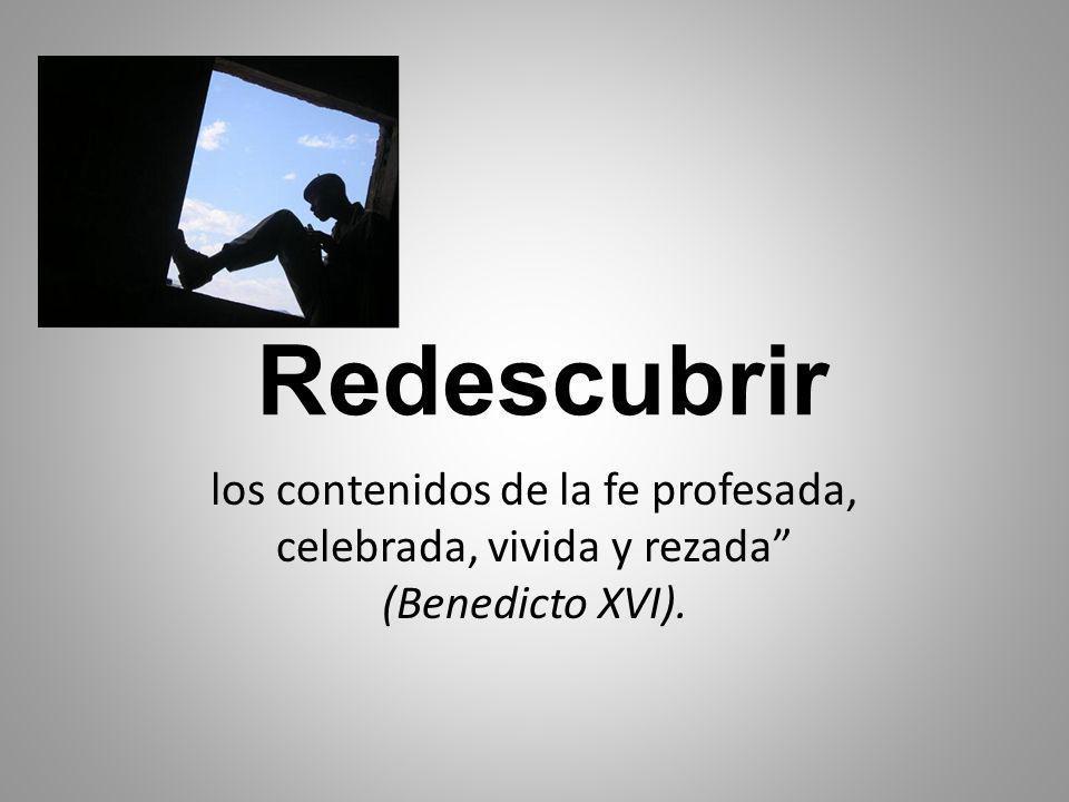 Redescubrir los contenidos de la fe profesada, celebrada, vivida y rezada (Benedicto XVI).