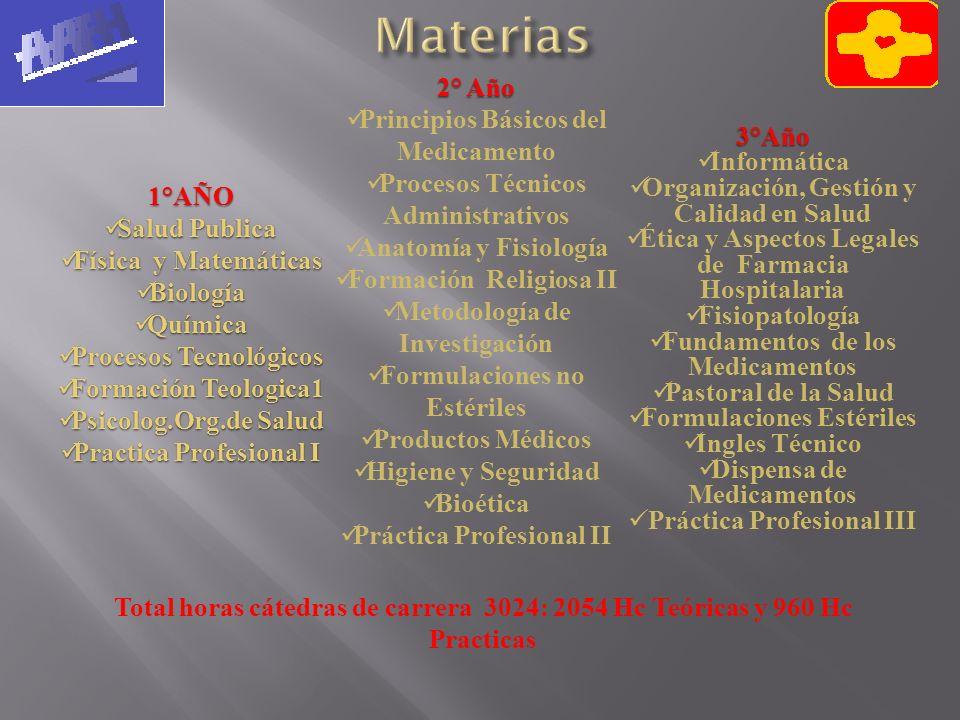 3°Año Informática Organización, Gestión y Calidad en Salud Ética y Aspectos Legales de Farmacia Hospitalaria Fisiopatología Fundamentos de los Medicam