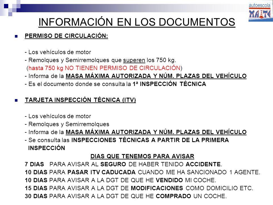INFORMACIÓN EN LOS DOCUMENTOS PERMISO DE CIRCULACIÓN: - Los vehículos de motor - Remolques y Semirremolques que superen los 750 kg.