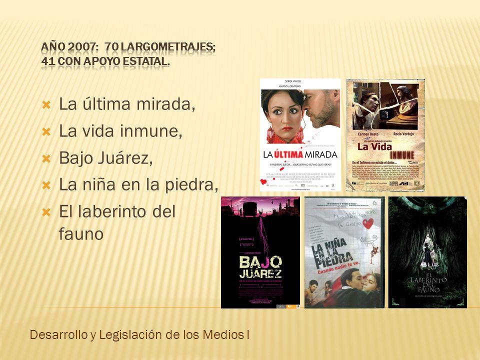 La última mirada, La vida inmune, Bajo Juárez, La niña en la piedra, El laberinto del fauno Desarrollo y Legislación de los Medios I