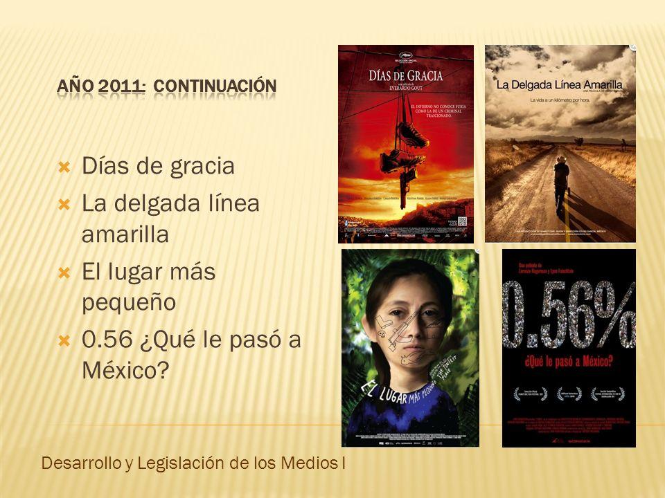 Días de gracia La delgada línea amarilla El lugar más pequeño 0.56 ¿Qué le pasó a México? Desarrollo y Legislación de los Medios I