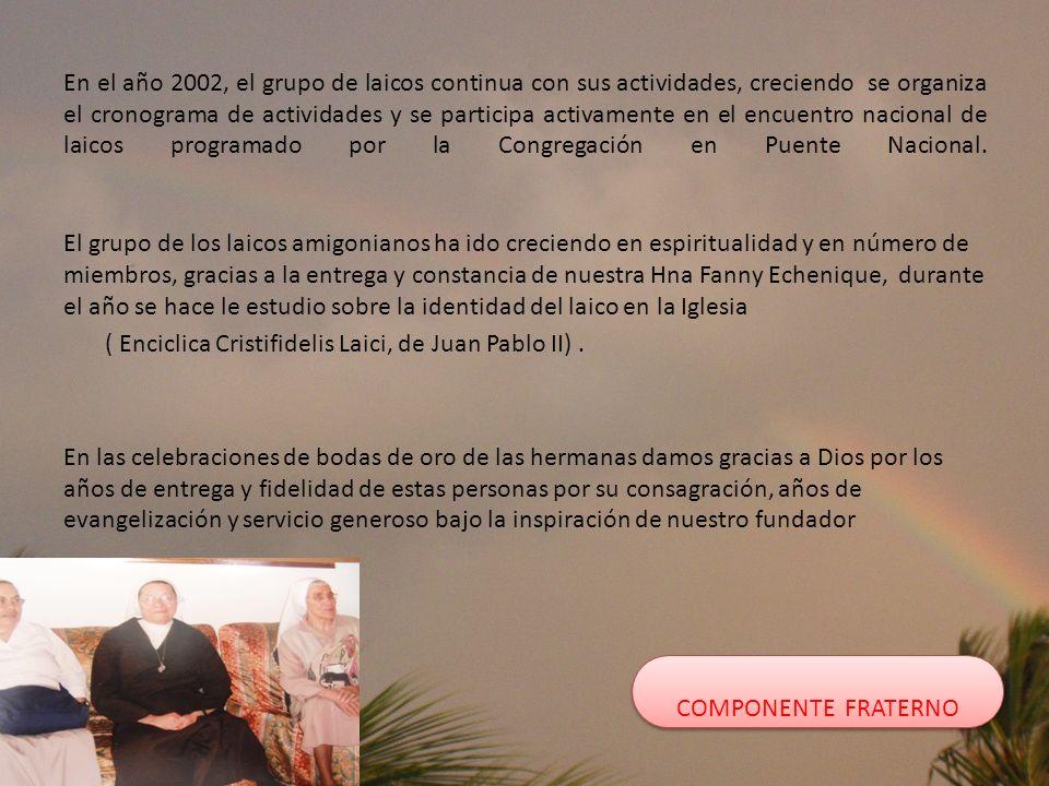 En el año 2002, el grupo de laicos continua con sus actividades, creciendo se organiza el cronograma de actividades y se participa activamente en el e