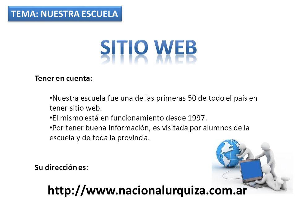 TEMA: NUESTRA ESCUELA Tener en cuenta: Nuestra escuela fue una de las primeras 50 de todo el país en tener sitio web.