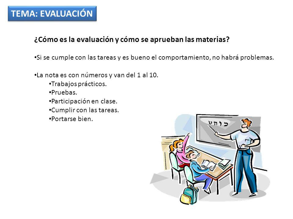 TEMA: EVALUACIÓN ¿Cómo es la evaluación y cómo se aprueban las materias.