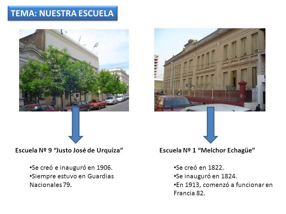 TEMA: NUESTRA ESCUELA Escuela Nº 1 Melchor Echagüe Se creó en 1822.