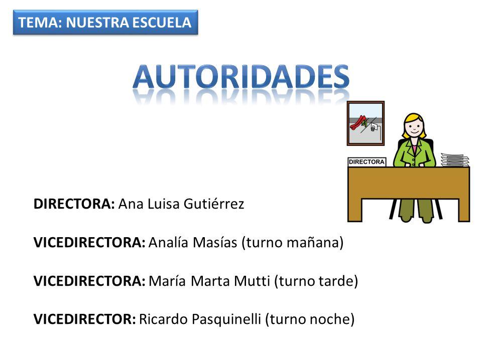 TEMA: NUESTRA ESCUELA DIRECTORA: Ana Luisa Gutiérrez VICEDIRECTORA: Analía Masías (turno mañana) VICEDIRECTORA: María Marta Mutti (turno tarde) VICEDIRECTOR: Ricardo Pasquinelli (turno noche)