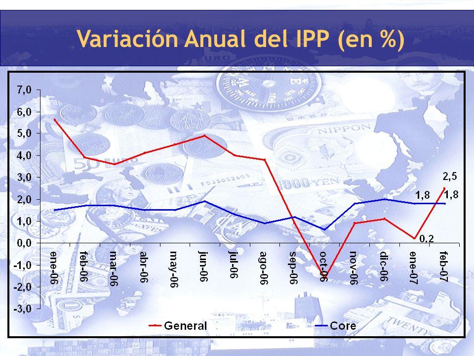 Variación Anual del IPP (en %)