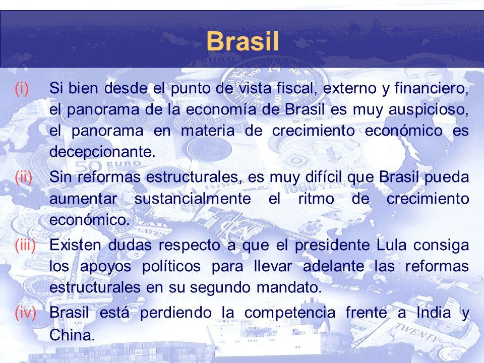 Brasil (i)Si bien desde el punto de vista fiscal, externo y financiero, el panorama de la economía de Brasil es muy auspicioso, el panorama en materia de crecimiento económico es decepcionante.
