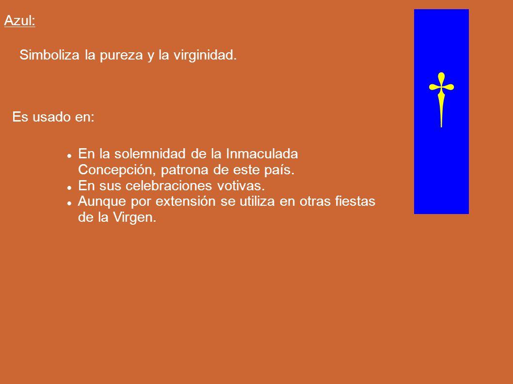 Azul: Simboliza la pureza y la virginidad. Es usado en: En la solemnidad de la Inmaculada Concepción, patrona de este país. En sus celebraciones votiv