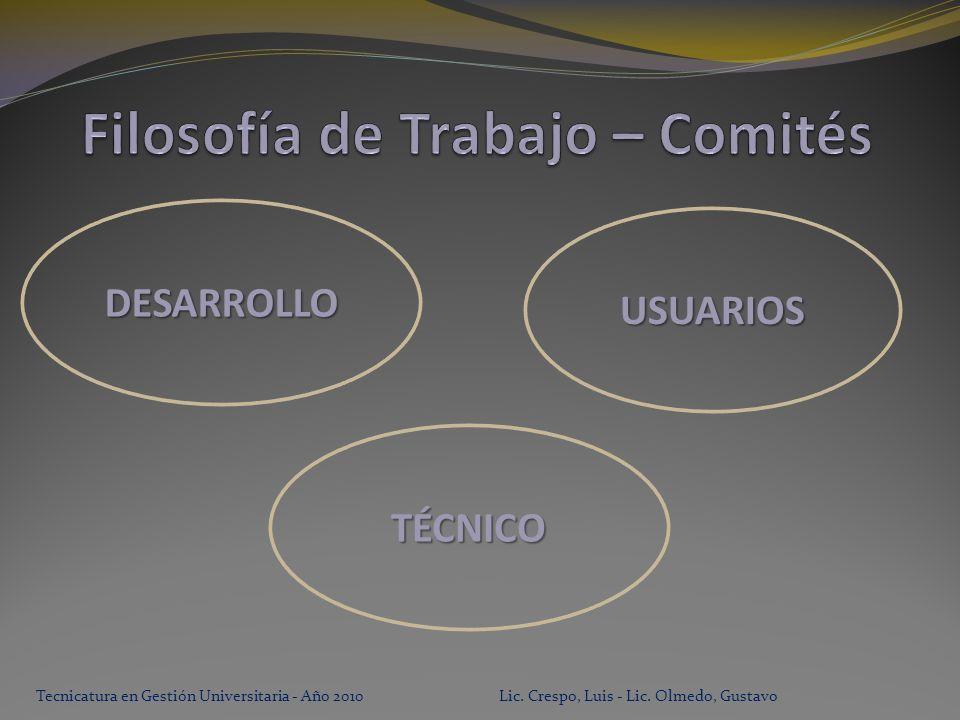 Tecnicatura en Gestión Universitaria - Año 2010 Lic.