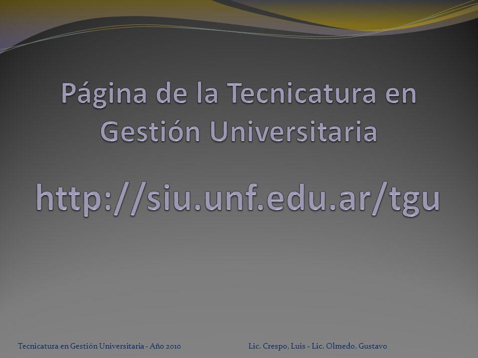 Tecnicatura en Gestión Universitaria - Año 2010 Lic. Crespo, Luis - Lic. Olmedo, Gustavo