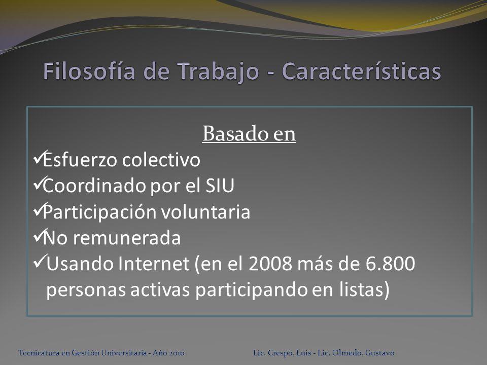 Basado en Esfuerzo colectivo Coordinado por el SIU Participación voluntaria No remunerada Usando Internet (en el 2008 más de 6.800 personas activas participando en listas)