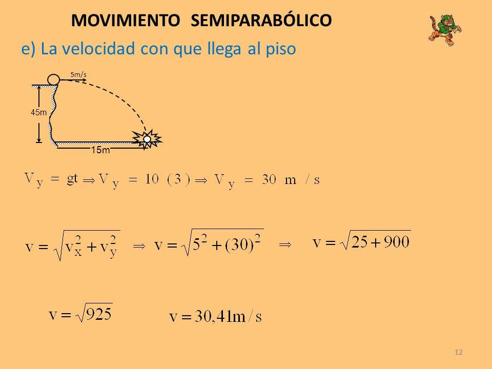 12 MOVIMIENTO SEMIPARABÓLICO 5m/s 45m 15m 12 e) La velocidad con que llega al piso