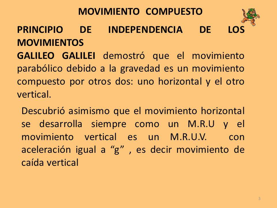 3 PRINCIPIO DE INDEPENDENCIA DE LOS MOVIMIENTOS GALILEO GALILEI demostró que el movimiento parabólico debido a la gravedad es un movimiento compuesto