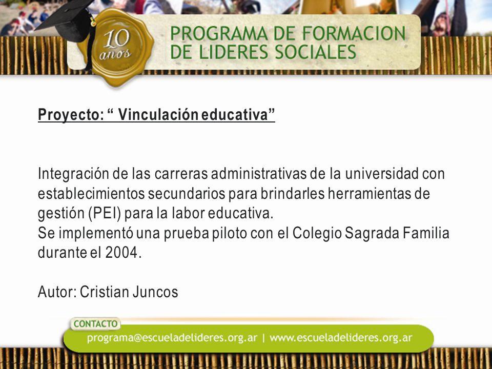 Proyecto: Vinculación educativa Integración de las carreras administrativas de la universidad con establecimientos secundarios para brindarles herrami