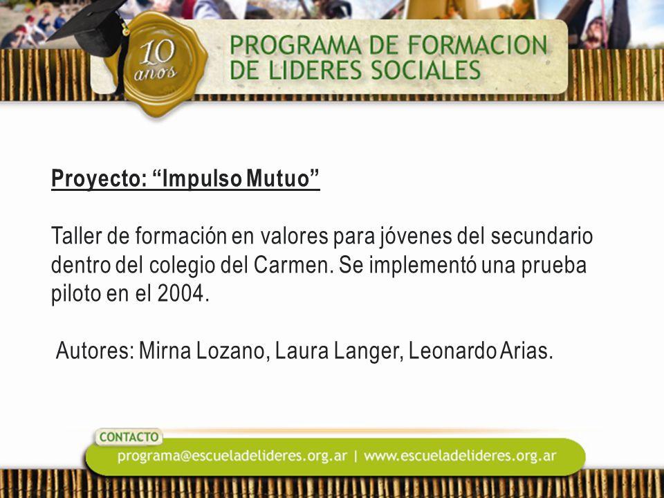 Proyecto: Impulso Mutuo Taller de formación en valores para jóvenes del secundario dentro del colegio del Carmen. Se implementó una prueba piloto en e
