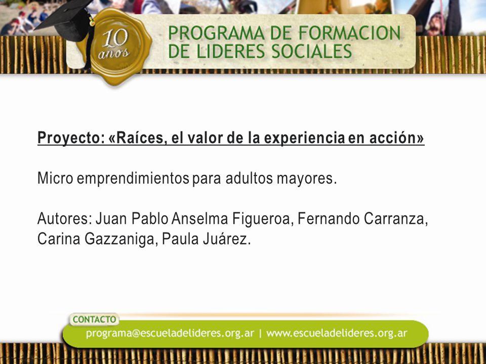 Proyecto: «Raíces, el valor de la experiencia en acción» Micro emprendimientos para adultos mayores. Autores: Juan Pablo Anselma Figueroa, Fernando Ca