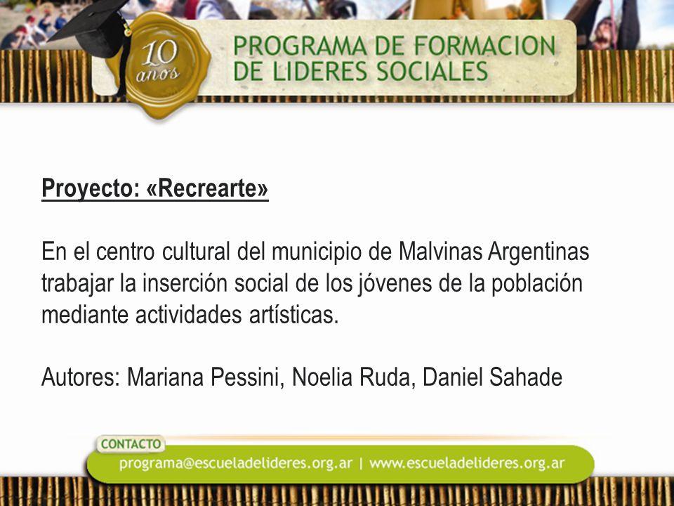 Proyecto: «Recrearte» En el centro cultural del municipio de Malvinas Argentinas trabajar la inserción social de los jóvenes de la población mediante