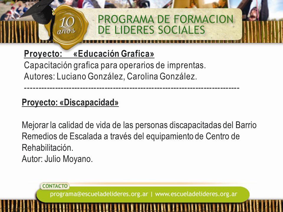 Proyecto: «Educación Grafica» Capacitación grafica para operarios de imprentas. Autores: Luciano González, Carolina González. ------------------------