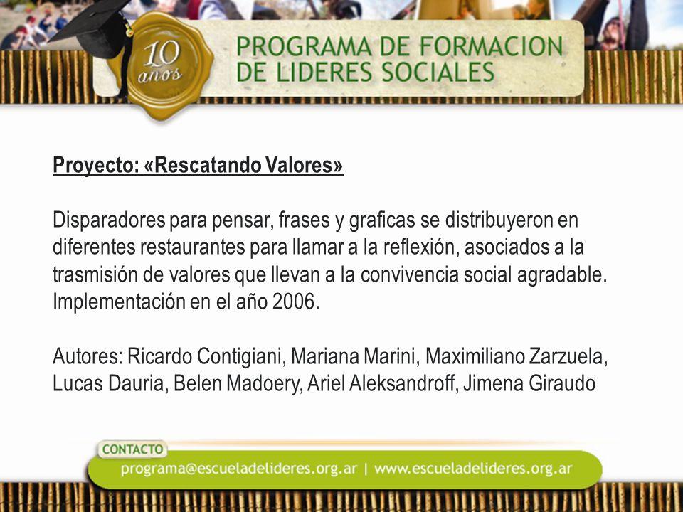 Proyecto: «Rescatando Valores» Disparadores para pensar, frases y graficas se distribuyeron en diferentes restaurantes para llamar a la reflexión, aso