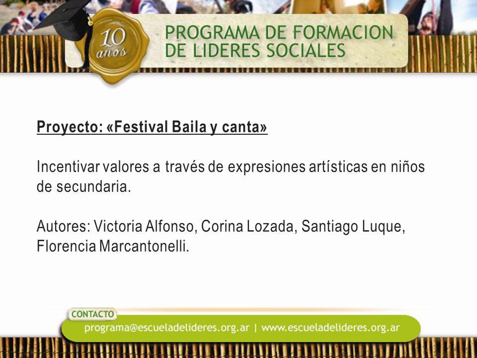 Proyecto: «Festival Baila y canta» Incentivar valores a través de expresiones artísticas en niños de secundaria. Autores: Victoria Alfonso, Corina Loz