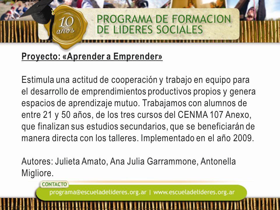 Proyecto: «Aprender a Emprender» Estimula una actitud de cooperación y trabajo en equipo para el desarrollo de emprendimientos productivos propios y g