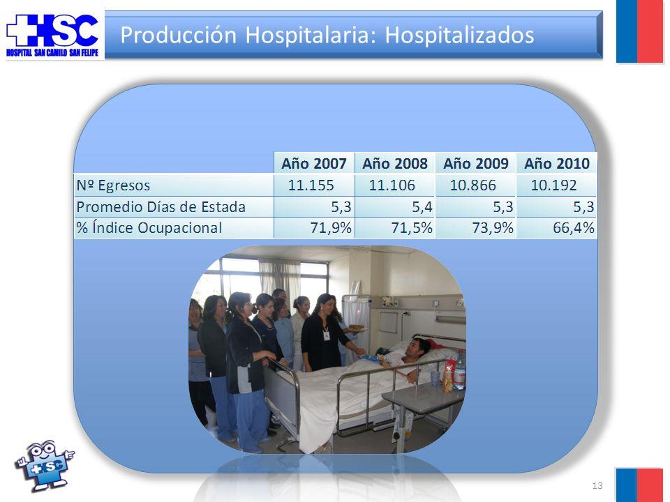 13 Producción Hospitalaria: Hospitalizados