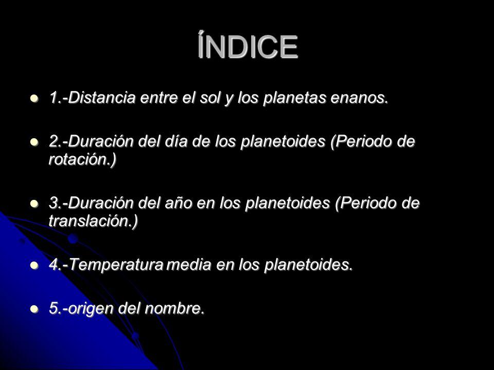 ÍNDICE 1.-Distancia entre el sol y los planetas enanos.