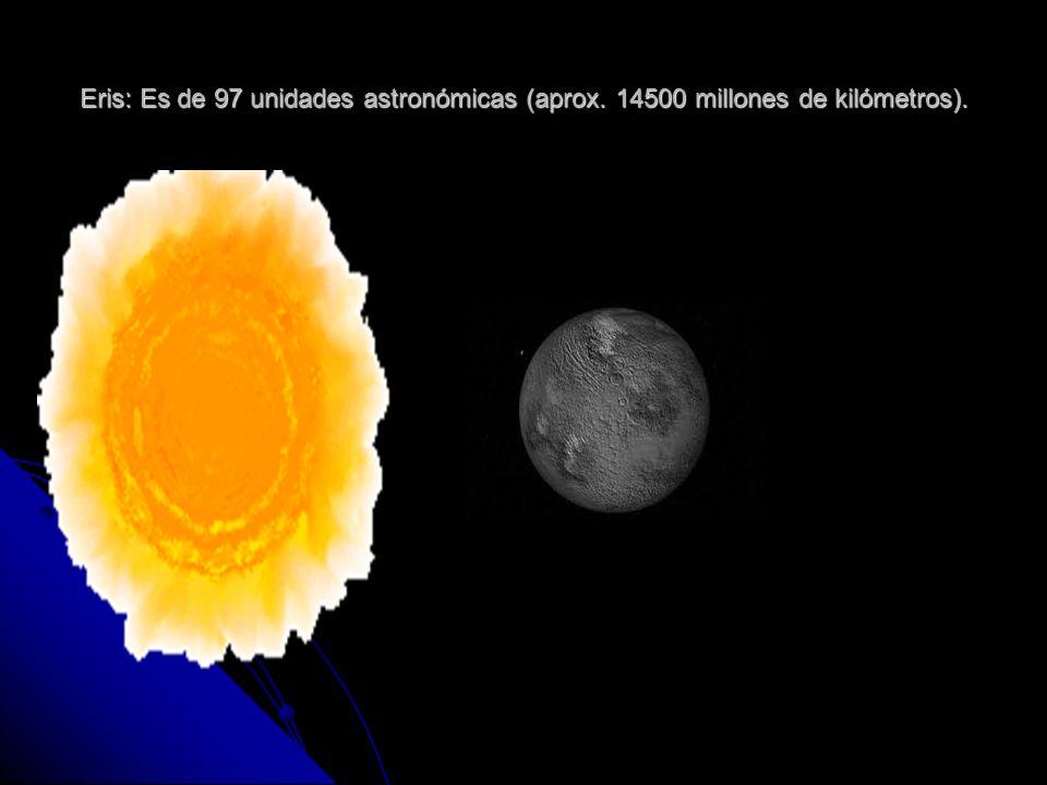 Eris: Es de 97 unidades astronómicas (aprox. 14500 millones de kilómetros).