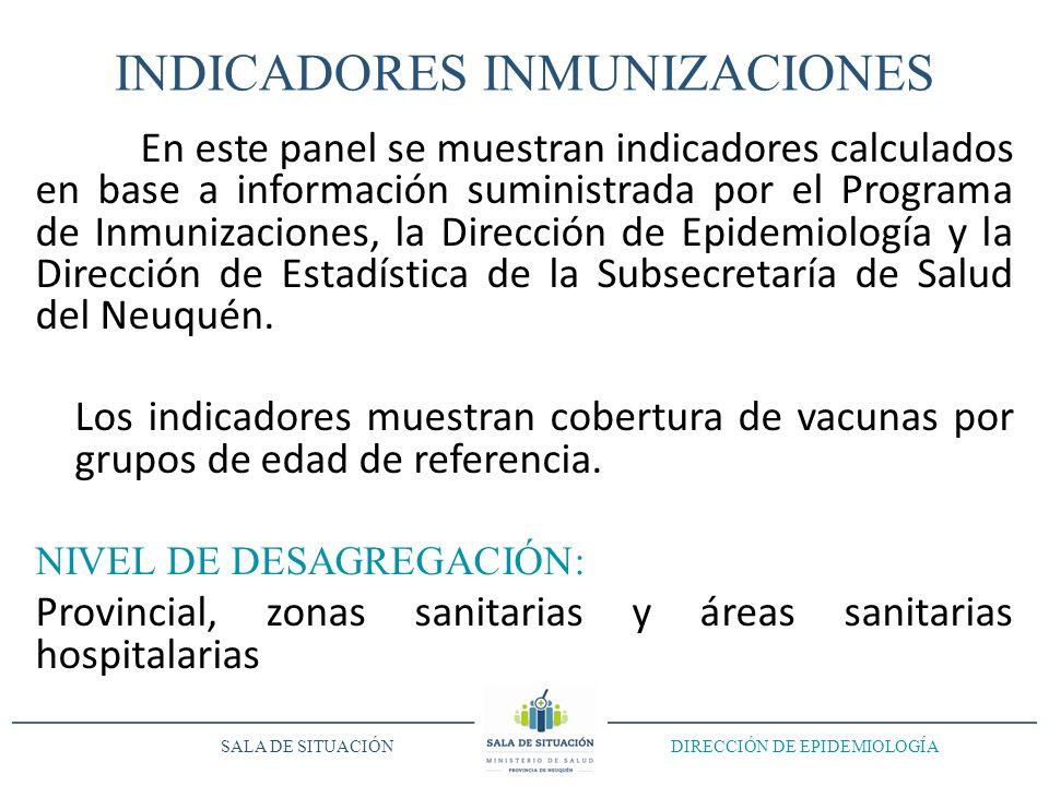 INDICADORES INMUNIZACIONES En este panel se muestran indicadores calculados en base a información suministrada por el Programa de Inmunizaciones, la Dirección de Epidemiología y la Dirección de Estadística de la Subsecretaría de Salud del Neuquén.