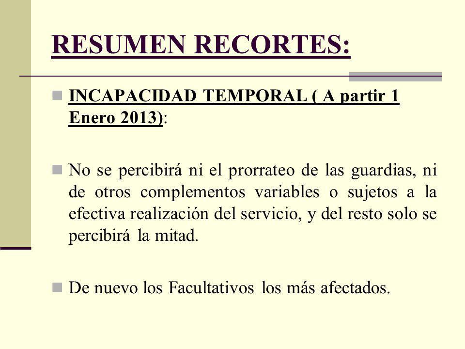 RESUMEN RECORTES: INCAPACIDAD TEMPORAL ( A partir 1 Enero 2013): No se percibirá ni el prorrateo de las guardias, ni de otros complementos variables o sujetos a la efectiva realización del servicio, y del resto solo se percibirá la mitad.