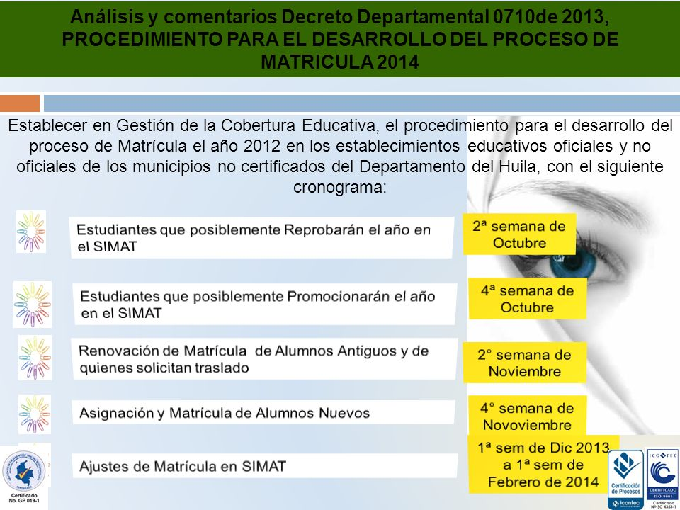 Análisis y comentarios Decreto Departamental 0710de 2013, PROCEDIMIENTO PARA EL DESARROLLO DEL PROCESO DE MATRICULA 2014 Establecer en Gestión de la Cobertura Educativa, el procedimiento para el desarrollo del proceso de Matrícula el año 2012 en los establecimientos educativos oficiales y no oficiales de los municipios no certificados del Departamento del Huila, con el siguiente cronograma: