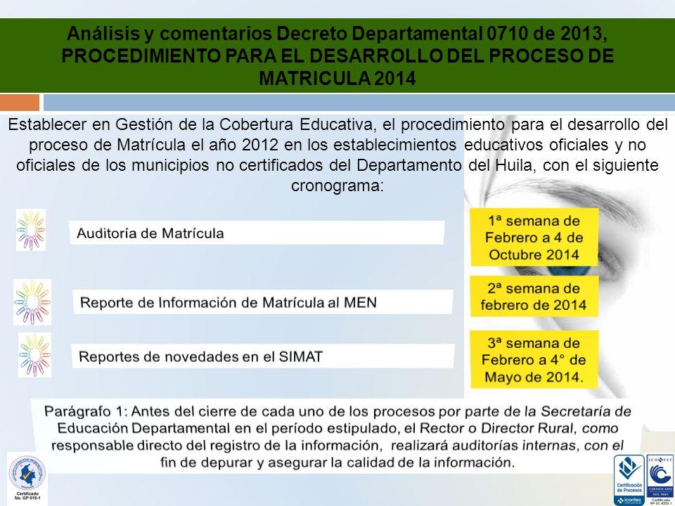 Análisis y comentarios Decreto Departamental 0710 de 2013, PROCEDIMIENTO PARA EL DESARROLLO DEL PROCESO DE MATRICULA 2014 Establecer en Gestión de la Cobertura Educativa, el procedimiento para el desarrollo del proceso de Matrícula el año 2012 en los establecimientos educativos oficiales y no oficiales de los municipios no certificados del Departamento del Huila, con el siguiente cronograma: