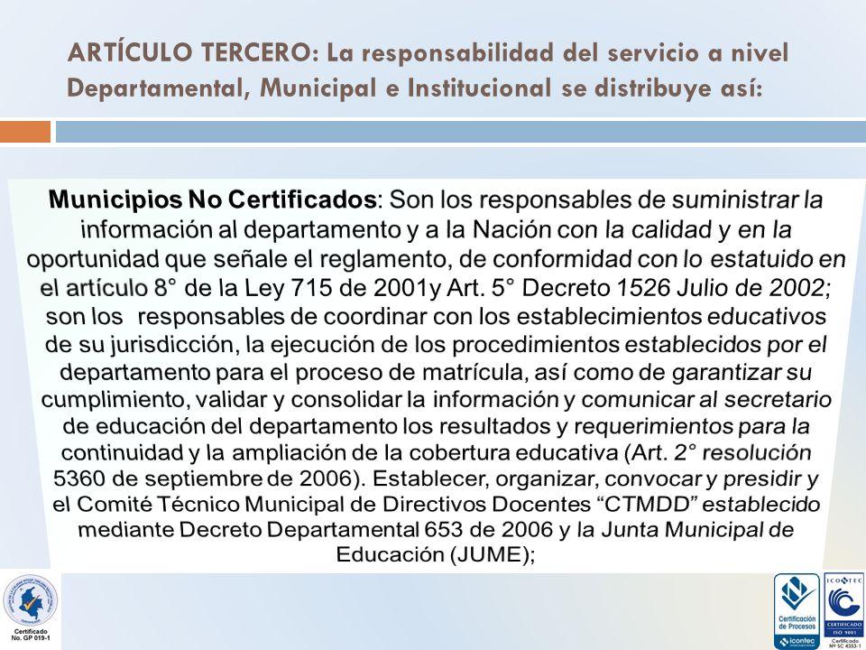 ARTÍCULO TERCERO: La responsabilidad del servicio a nivel Departamental, Municipal e Institucional se distribuye así: