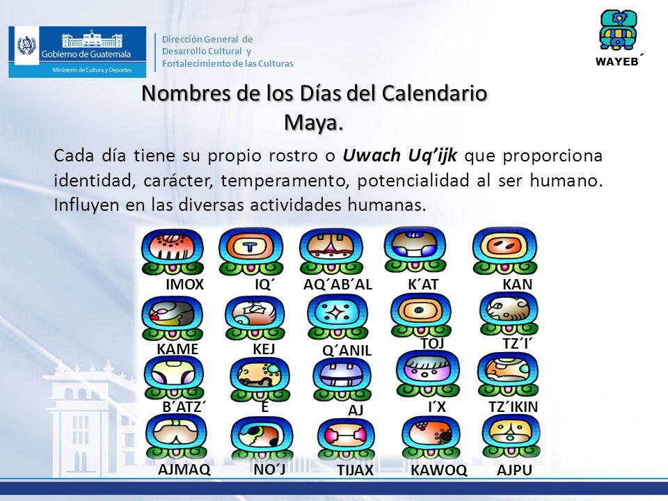 Nombres de los Días del Calendario Maya. Cada día tiene su propio rostro o Uwach Uqijk que proporciona identidad, carácter, temperamento, potencialida
