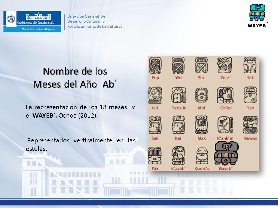 Nombre de los Meses del Año Ab´ La representación de los 18 meses y el WAYEB´. Ochoa (2012). Representados verticalmente en las estelas. WAYEB ´ Direc