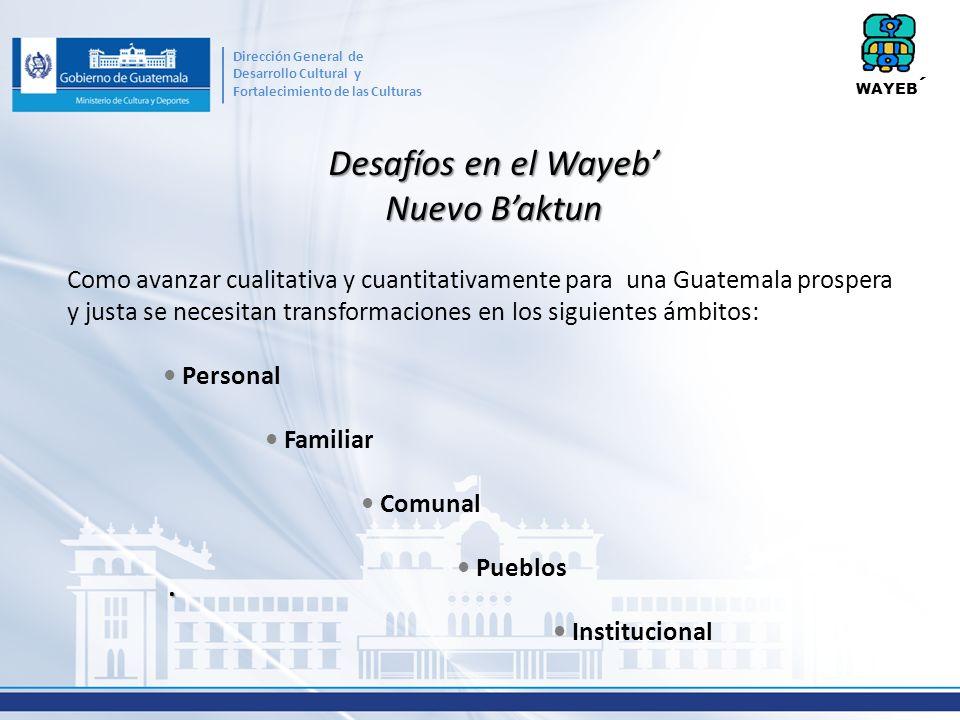 Desafíos en el Wayeb Nuevo Baktun. Como avanzar cualitativa y cuantitativamente para una Guatemala prospera y justa se necesitan transformaciones en l