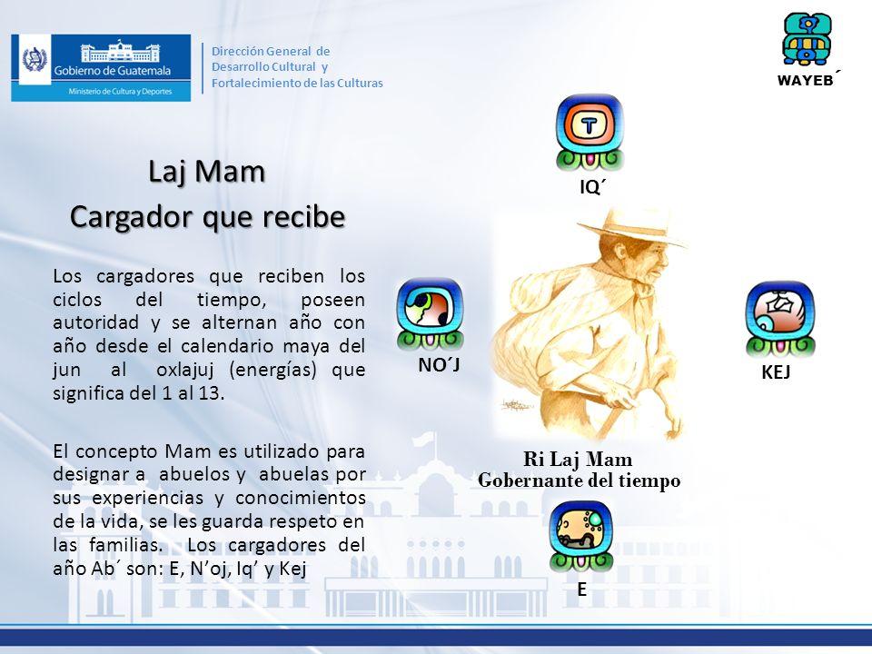 Laj Mam Cargador que recibe Los cargadores que reciben los ciclos del tiempo, poseen autoridad y se alternan año con año desde el calendario maya del jun al oxlajuj (energías) que significa del 1 al 13.
