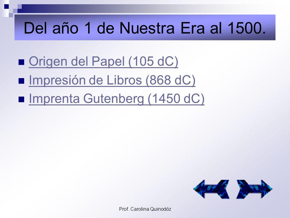 Prof. Carolina Quinodóz Del 20.000 AC al año 1 de Nuestra Era. Escritura Cuneiforme (3300 AC) Escritura Cuneiforme (3300 AC) La Piedra Roseta (196 AC)