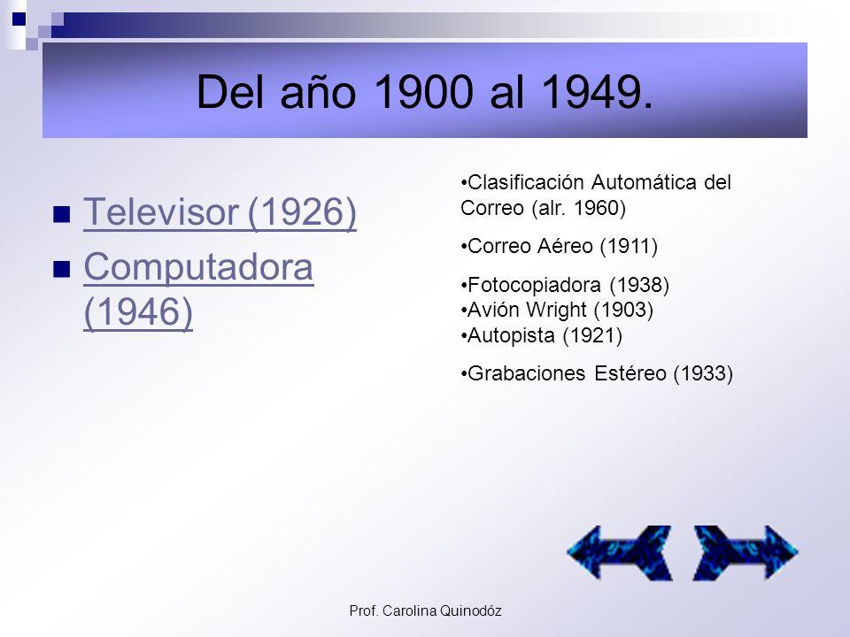 Prof. Carolina Quinodóz Del año 1700 al 1899. Telégrafo Eléctrico (1844) Telégrafo Eléctrico (1844) Telefax (1843) Teléfono (1876) Fonógrafo (1877) Gr