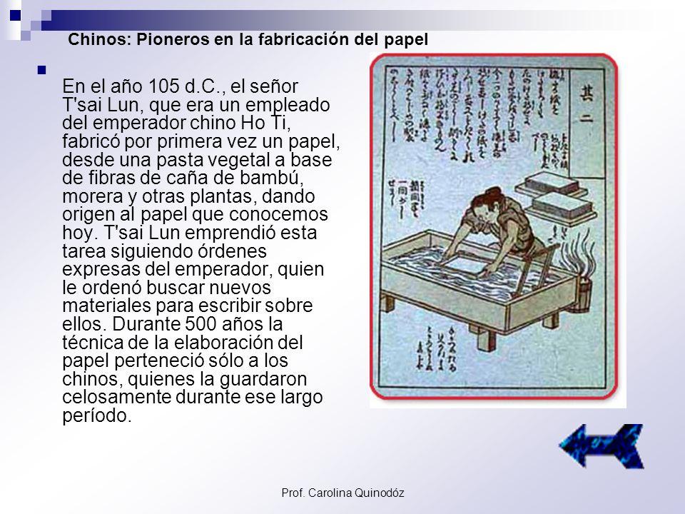 Prof. Carolina Quinodóz Origen del Papel El vocablo papel –papyrus, en latín-, alude a la planta egipcia Cyperus papirus, de la familia de las Ciperác
