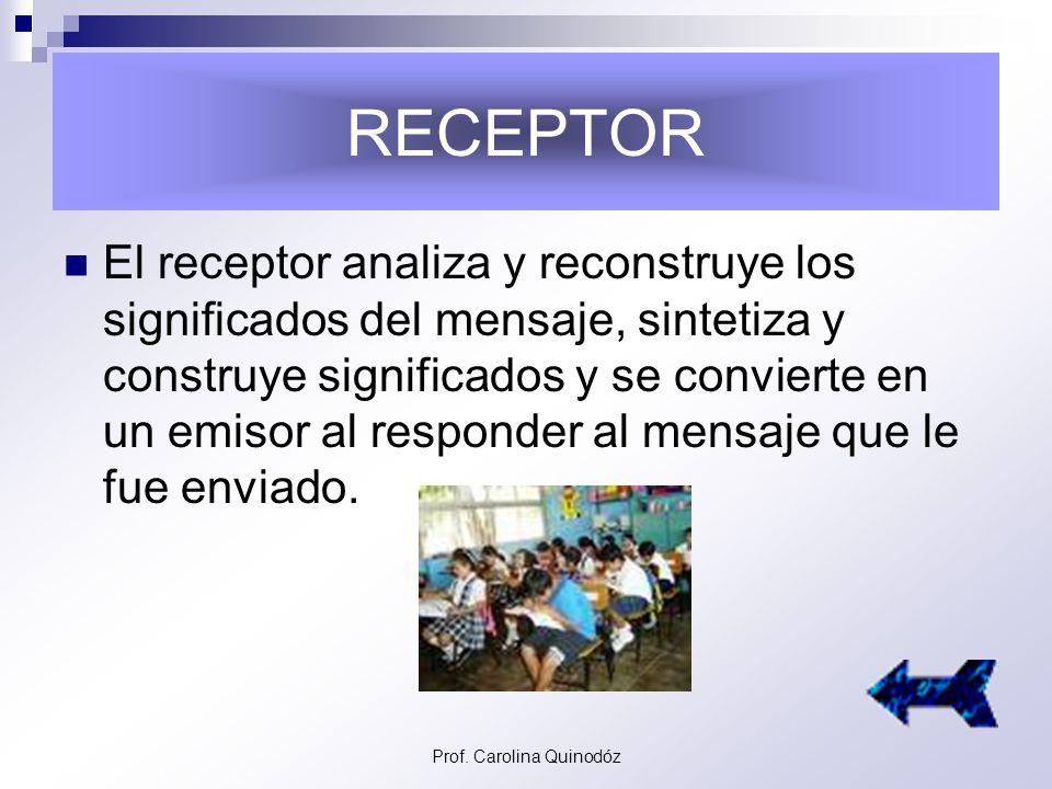 Prof. Carolina Quinodóz EMISOR El emisor es quien abre el proceso de la comunicación, el que da a conocer el mensaje y lo emite.