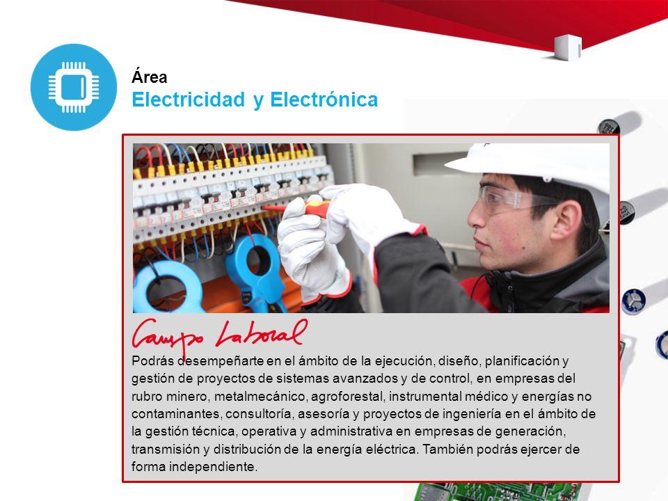 Área Electricidad y Electrónica Podrás desempeñarte en el ámbito de la ejecución, diseño, planificación y gestión de proyectos de sistemas avanzados y