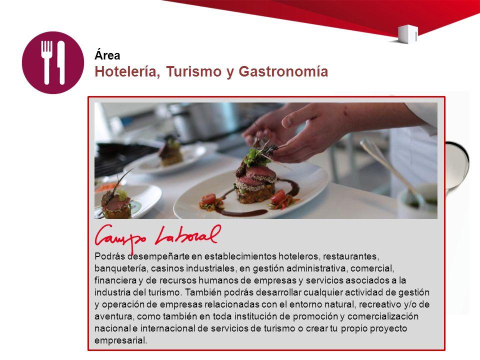 Área Hotelería, Turismo y Gastronomía Podrás desempeñarte en establecimientos hoteleros, restaurantes, banquetería, casinos industriales, en gestión administrativa, comercial, financiera y de recursos humanos de empresas y servicios asociados a la industria del turismo.