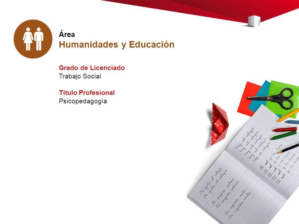 Área Humanidades y Educación Grado de Licenciado Trabajo Social Título Profesional Psicopedagogía