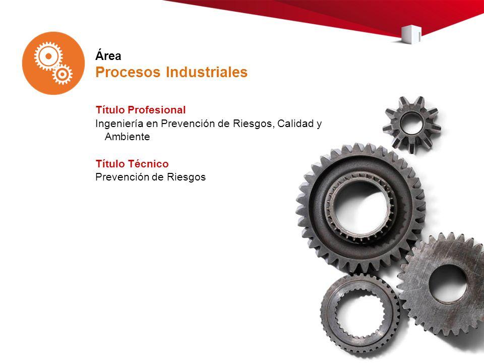 Área Procesos Industriales Título Profesional Ingeniería en Prevención de Riesgos, Calidad y Ambiente Título Técnico Prevención de Riesgos