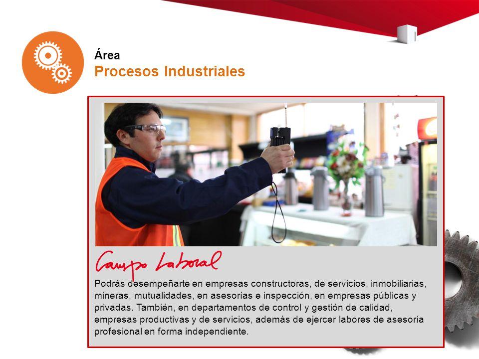 Área Procesos Industriales Podrás desempeñarte en empresas constructoras, de servicios, inmobiliarias, mineras, mutualidades, en asesorías e inspección, en empresas públicas y privadas.