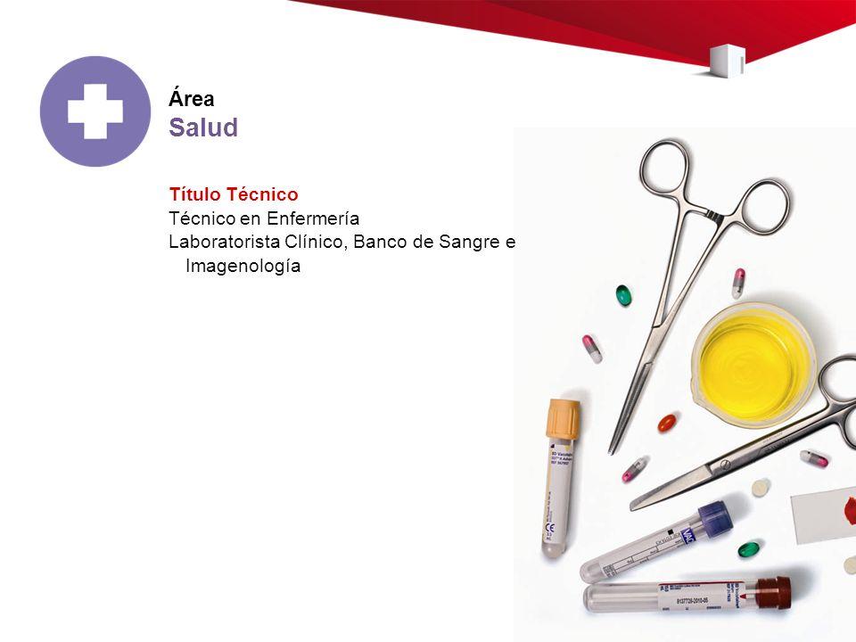 Área Salud Título Técnico Técnico en Enfermería Laboratorista Clínico, Banco de Sangre e Imagenología